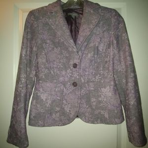 Ann Taylor 0P Purple Blazer Tweed & Floral Print ;